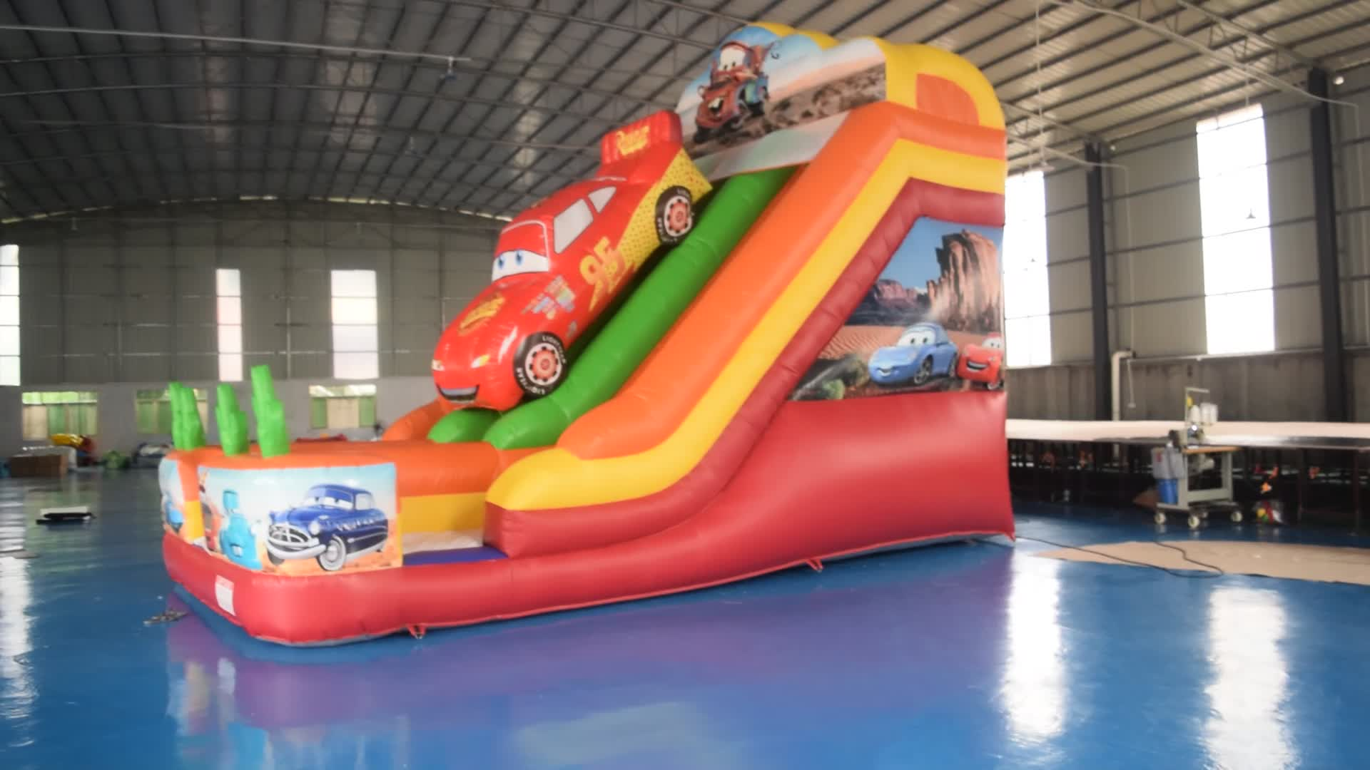 Racing car inflatable slide